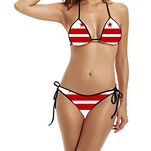 Hotgirl4 Women Sexy Flag Of USA District Of Columbia Summer Beach Swim Bikini Suit Black 1 Size