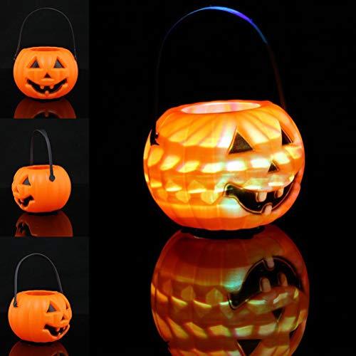 Uonlytech Halloween Portable Pumpkin Lanterns Halloween Barrel Candy Jar LED Lantern Light Props Party Supplies for Kids]()