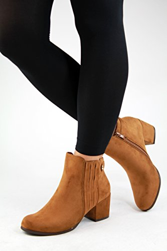 New Womens Ladies Ankle Boots Mid Block Heel Zip Comfy Casual Shoes Camel JtihjCUx14
