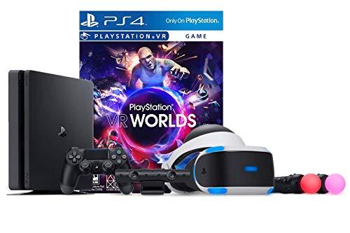 PlayStation VR Launch Bundle 2 Items VR Launch Bundle, Sony PlayStation4 Slim 1TB Console- Jet Black
