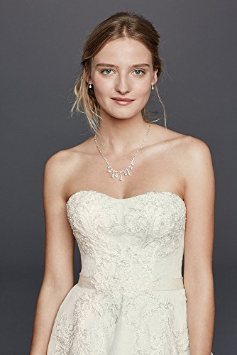 Dress Wedding Bridal Style Cassini Short Strapless Ivory Lace CWG742 Oleg David's F0wqYC6w