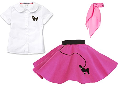 Toddler 3 Piece Poodle Skirt Costume Set - Hot Pink 3T -
