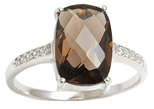 Banithani 925 Solid Silver Gorgeous Smoky Topaz Stone Charming Ring Women Fashion Jewelry
