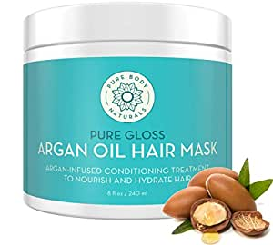 Argan Oil Hair Mask for Damaged Hair, Deep Conditioning Hair Treatment and Moisturizer by Pure Body Naturals, 8 Fl. Ounce