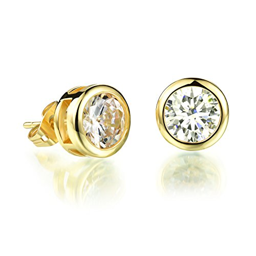 OPK Jewelry Platinum Plated or Gold Plated Round Cut Cubic Zirconia Stud Earrings 5mm/6mm/7mm/10mm (Earrings Round Band)