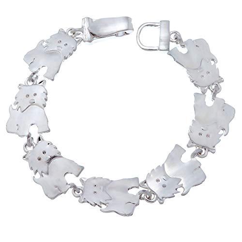 PammyJ Silvertone Westie Terrier Dog Bracelet With Magnetic Closure