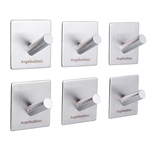 Angelbubbles Self Adhesive Hooks for Hanging 6pcs/pack 3M Stickers SUS 304