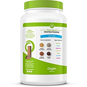 Orgain Organic Plant Based Protein Powder, Creamy Chocolate Fudge, Vegan, Non-GMO, Gluten Free, 2.03 Pound, 1 Count, Packaging May Vary