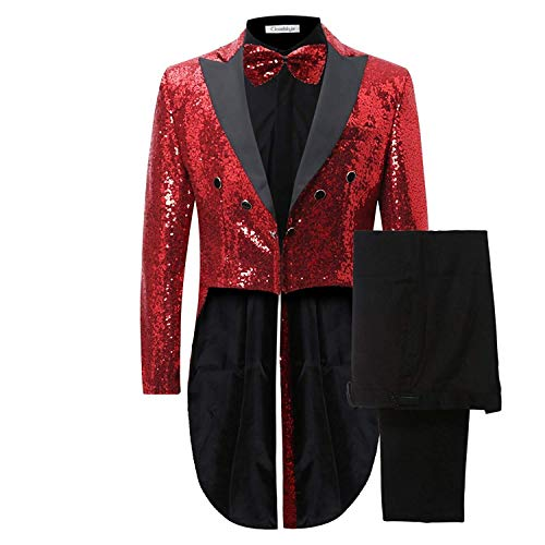 Mens 2 Piece Tuxedo Classic Dress Suit Dinner Red Blazer Jacket Black Pants, Red, Small ()
