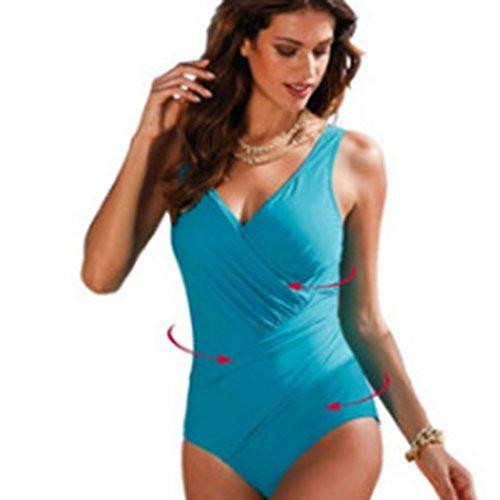 Dolland Women Plus Size One-Pieces Swimsuit Retro Vintage V Neck Beachwear Padded Swimwear ,Lake Blue4XL - 126 Elegant Wall