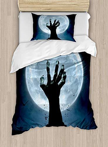 Meet 1998 Halloween Luxury 4-Piece Bedding Set,Realistic Zombie Earth Soil Full Moon Bat Horror Story October Twilight Themed,Duvet Covers Set Duvet Cover Bed Sheet Pillow Cases,Blue Black