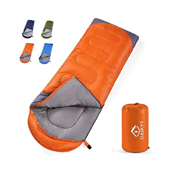 oaskys Camping Sleeping Bag - All Season Warm & Cool Weather - Summer, Spring, Fall, Winter, Lightweight, Waterproof for Adults & Kids - Camping Gear Equipment, Traveling, and Outdoors 3