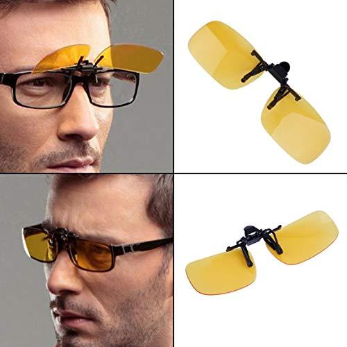 abatibles Color y lentes 400 gafas Driving gris hombres Clip lentes on Funnyrunstore Eyewear en de S Unisex negruzco; para Anti UV Nocturna mujeres Cool Tamaño sol Night Clip Vision Visión Amarilla con qSBqvzw