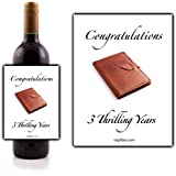 Congratulations 3 thrilling years Wine Bottle Label - perfect for adding that special touch to a 3rd anniversary present by Ukgiftbox