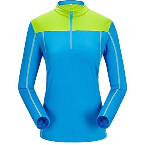 Zhhlaixing vêtements Outdoor Quick-Drying T-shirt Women's Fast - Drying Round Neck Sweat Breathable Long-Sleeved Blue