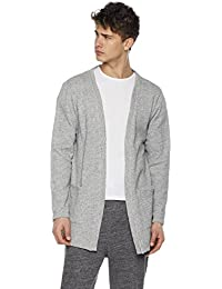 Young Men's Open Front Longline Cotton Sweatshirt Cardigan