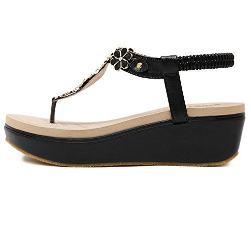 Ommda Women's Summer Thong Wedge Sandals Platform Black Flower Deco ANQEki8u