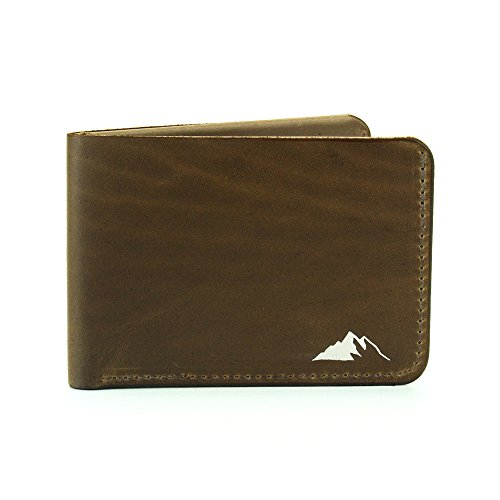Mens Wallet Minimalist Bifold Horween Chromexcel Leather By Rugged Material (Brown)