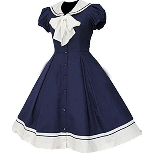 Dunkle Partiss Kleid Aermel Lolita kurze Frauen Damen Kleid Marine Partykleid C8CqaS