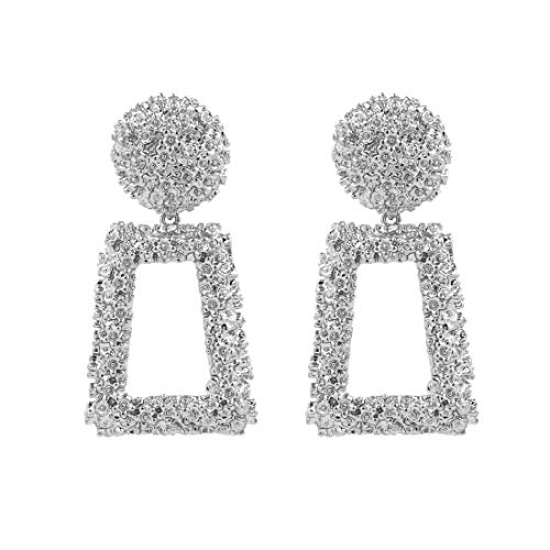 (ATIMIGO Statement Drop Earrings Large Metal Crystal Geometric Dangle Earrings Silver Drop Earrings for Women)