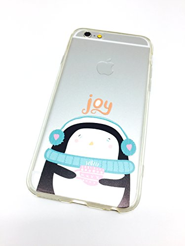 DECO FAIRY Compatible with iPhone 6 / 6s, Anime Animated Cartoon Snow Happy Penguin Coffee Lover Joy Series Transparent Translucent Flexible Silicone Cover Case