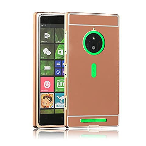 Microsoft Lumia 830 Case Cover,Qbily [Stylus Pen] Aluminum Bumper Thin Slim Metal Frame with PC Mirror Back Cover Case For Nokia Microsoft Lumia 830 Rose Gold (Don't Fit Other Lumia (Lumia 830 Gold Case)