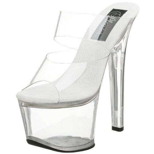 (Women's 7 Inch Spike Heel Platform Sandal (Clear/Chrome;6) )