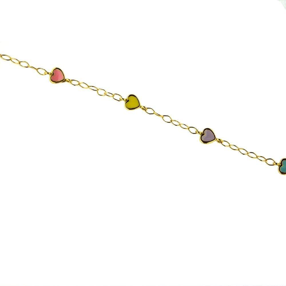 18K Yellow Gold Multi Color Enamel Heart 6 inch Braclet 5.75 inch