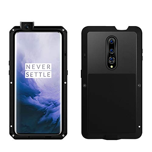 (Simicoo OnePlus 7 Pro Aluminum Alloy Metal Bumper Silicone Case Hybrid Military Shockproof Heavy Duty Armor Defender Tough Cover for OnePlus 7 Pro (Black, OnePlus 7 Pro))
