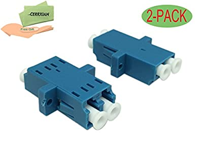 Cerrxian LC Duplex Fiber Optic Adapter LC Female to LC Female Duple Single Mode Multimode Fiber Optical Coupler Connector Adapter with Mount Panel (Blue 2-Pack)