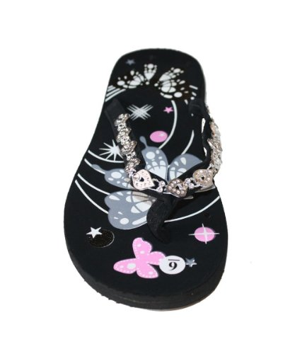 Flats Decorated Beach Style Butterfly strap Print Grey Flip Flat Thongs Womens Sandal Flops n0WUqgWPa