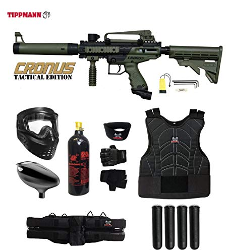 Paintball Complete - MAddog Tippmann Cronus Tactical Starter Protective CO2 Paintball Gun Package - Black/Olive