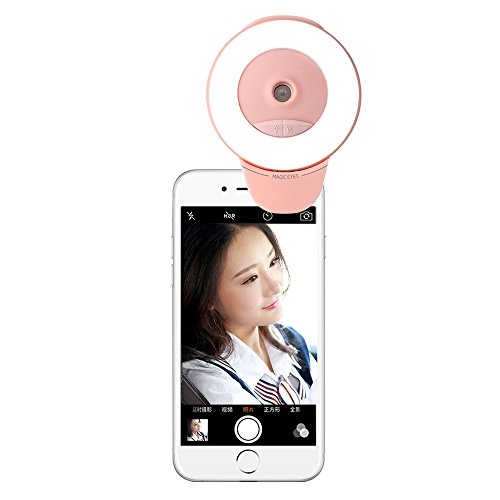 Price comparison product image MYMIJUE 2-in-1 Selfie Ring Light Portable Humidifier,  Rechargeable Clip On Selfie Camera Light for iPhone Samsung iPad,  Filling Water Car Diffuser Office Humidifier