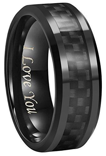 6mm 8mm 10mm Black Carbon Fiber Black Tungsten Carbide Wedding Band Ring Engraved ''I Love You'' Men Women (8mm,8.5)
