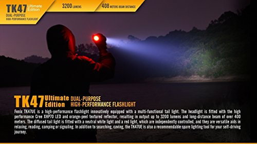 Fenix TK47 UE 3200 Lumen 1339 feet beam dual-purpose LED Flashlight with 4 X EdisonBright CR123A Lithium batteries, Holster & Lanyard bundle by EdisonBright (Image #3)