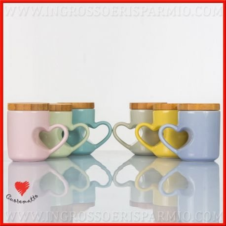 pink in Scatola cuorematto – Coffee Cups in 6 Different Variations of Colour with Heart Shaped Side Handle and Lid color Bamboo Wood – Bomboniere Wedding, Wedding, Anniversary pink In Scatola