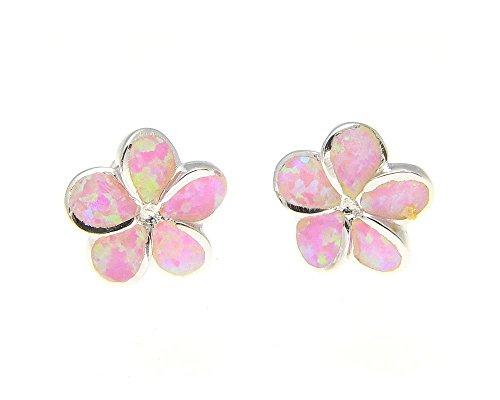 - 925 sterling silver Hawaiian plumeria flower pink synthetic opal post stud earrings 10mm