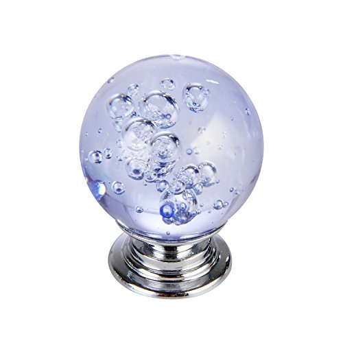 Set of 10 Blue Bubbles Glass Crystal Knobs and Pulls Knobs and Handles for Kitchen Furniture Door Drawer Cabinet Dresser Closet Wardrobe Cupboard Bathroom