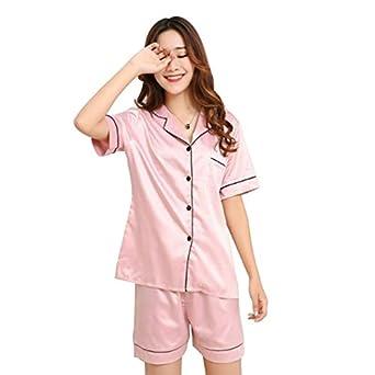 HITSAN Brand 2018 Summer Style Women Chinese Satin Silk Pajamas Sets of  T-Shirt   Shorts Female Superior Sleepwear Nighty Suit Pink Size XXL   Amazon.in  ... ad59d1930