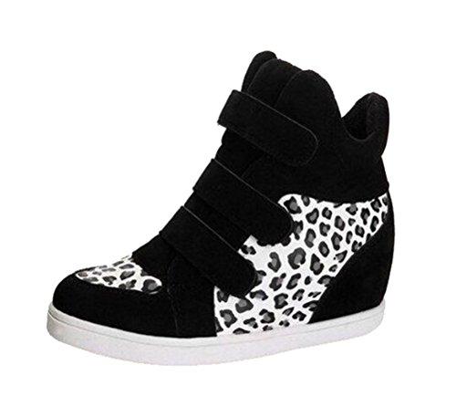 T & Mates Dames Comfort Velcro Ronde Neus Verborgen Sleehak Hoge Top Mode Sneakers Zwartwit Luipaard
