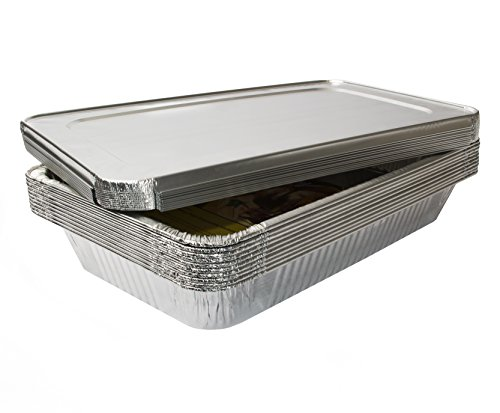 eHomeA2Z (10 Pack) Heavy Duty Full Size Disposable Aluminum Foil Steam Table Pans With Foil Lids for Cooking, Roasting, Broiling, Baking - 21 x 13 x 3 (10, Full-Size w/ Lids)