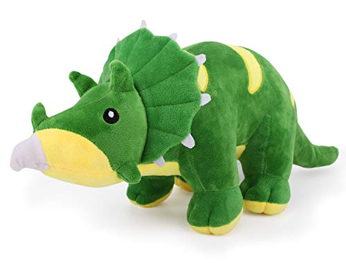 Zooawa 21 Inch Big Triceratops Dinosaur Bed Time Stuffed Animal Toys, Large Cute Soft Plush Dino Figure Animal - Green
