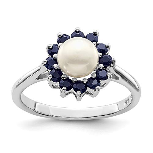 Mia Diamonds 925 Sterling Silver Solid Rhod 6mm Fw Cultured Button Pearl and Sapphire Ring