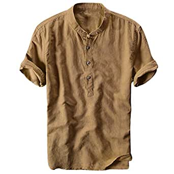 Camiseta de algodón y Lino, Manga Corta, botón para Hombre ...