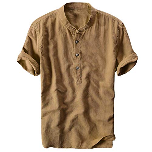 Toimothcn Men's Linen Shirts Cool&Thin Stand Collar Gradient Color Button Up Shirt Tops(Khaki,XXL)