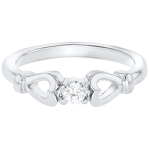 In Season Jewelry Rhodium Plated Clear Crystal Heart Diva Baby Rings