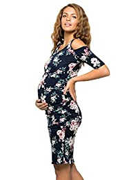 My Bump - Vestido de Maternidad Mujer Hombro frío Ajustado Cuello Redondo