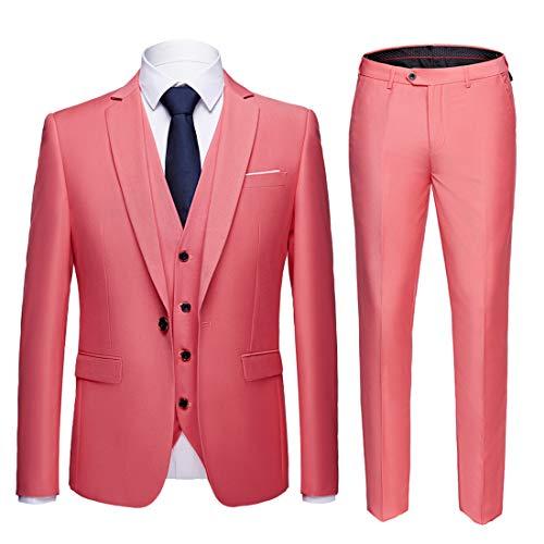 - MY'S Men's Suit Slim Fit One Button 3-Piece Suit Blazer Dress Business Wedding Party Jacket Vest & Pants Pink