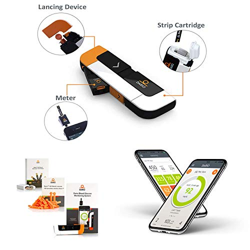 Dario Blood Glucose Meter kit with Strips for iPhone, All-in-one Diabetes Testing kit, 25 Test Strips 10 sterile lancets 10 Disposable Covers. Mini, Sleek and Smart self Care Glucose Monitor