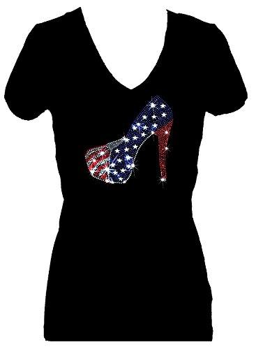 July Womens V-neck T-shirt - Rockeroo Boutique Shoe Flag July 4th Independence Rhinestone V Neck Short Sleeve Tee Shirt (2X)